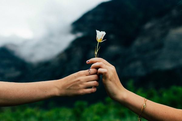 sharing a flower